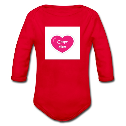 Spread shirt hjärta carpe diem vit text - Ekologisk långärmad babybody