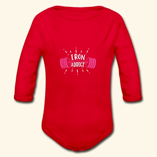 VSK Lustiges GYM Shirt Iron Addict - Baby Bio-Langarm-Body