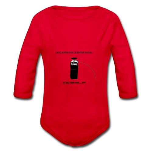 le fil rouge sur le bouton rouge - Body Bébé bio manches longues