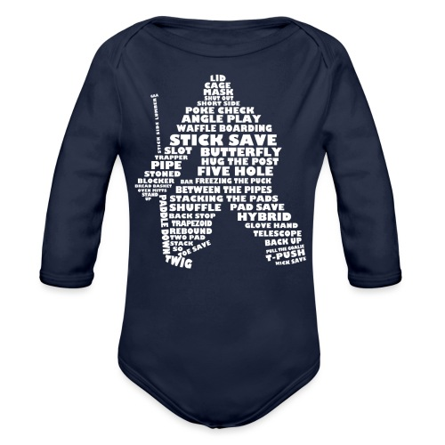 Hockey Goalie Typography Word Art - Organic Longsleeve Baby Bodysuit