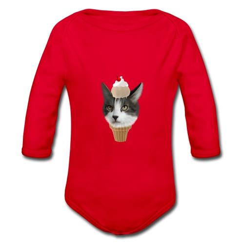 Ice Cream Cat - Baby Bio-Langarm-Body