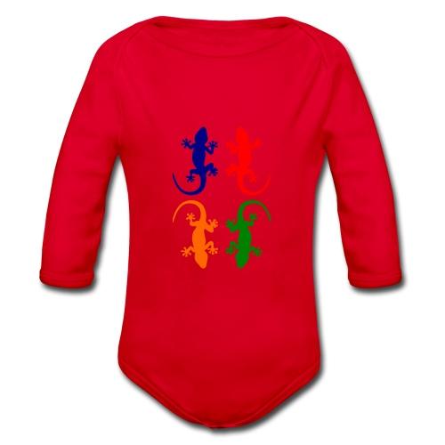 Farbige Geckos - Baby Bio-Langarm-Body