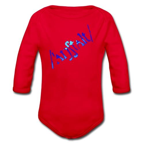 /'angstalt/ logo gerastert (blau/transparent) - Baby Bio-Langarm-Body