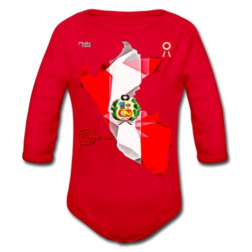 Mapa del Peru, Bandera y Escarapela - Organic Longsleeve Baby Bodysuit