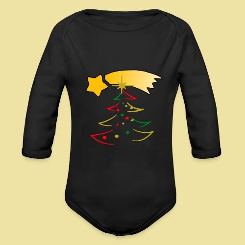 Weihnachtsbaum mit einer Sternschnuppe - Baby Bio-Langarm-Body