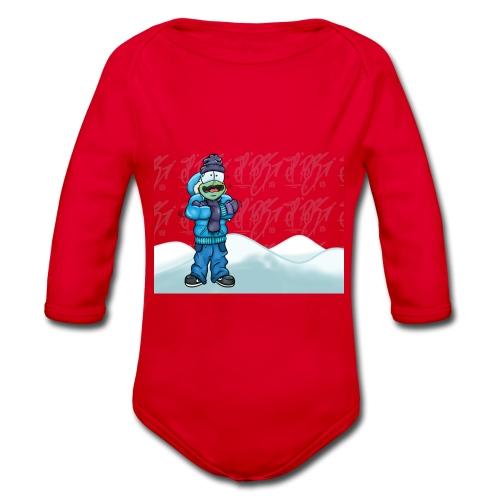 Freezing Turtle Snowboarder/Frierender Snowboarder - Baby Bio-Langarm-Body