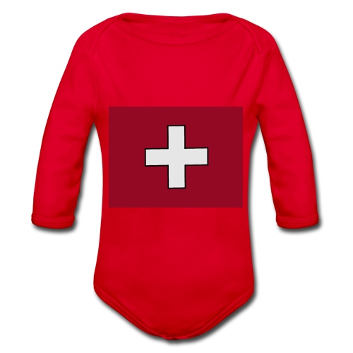 Swiss Flagge - Baby Bio-Langarm-Body