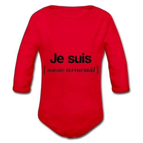 Je suis (sort skrift) - Langærmet babybody, økologisk bomuld