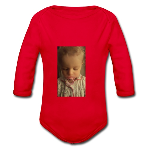Red Ball4561 baby - Organic Longsleeve Baby Bodysuit