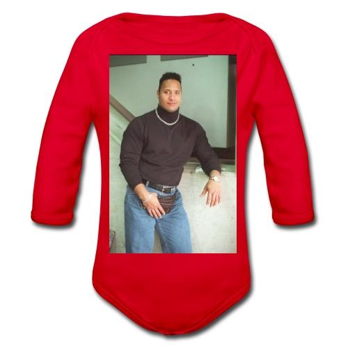 Dwayne Johnson 80's kid - Organic Longsleeve Baby Bodysuit