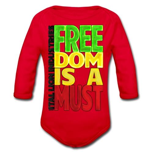 Freedom is a must - Organic Longsleeve Baby Bodysuit