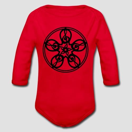 Treble Clef Mandala (black) - Organic Longsleeve Baby Bodysuit