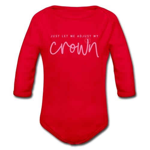 Crown pink - Organic Longsleeve Baby Bodysuit