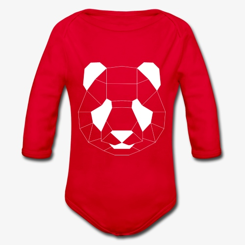Panda Geometrisch weiss - Baby Bio-Langarm-Body