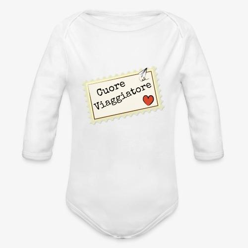 CUORE VIAGGIATORE Scritta con aeroplanino e cuore - Body ecologico per neonato a manica lunga
