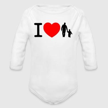 Kocham, ojciec i syn - czarny - Ekologiczne body niemowlęce z długim rękawem