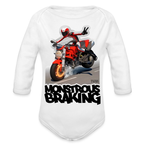 Ducati Monster, a motorcycle stoppie. - Body orgánico de manga larga para bebé