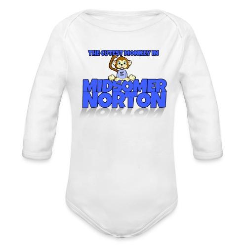 cute-monkey-blue - Organic Longsleeve Baby Bodysuit