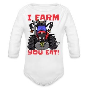 I farm you eat mf - Baby bio-rompertje met lange mouwen