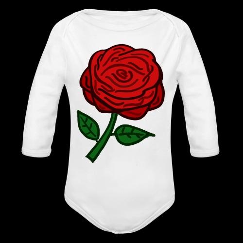 Rote Rose - Baby Bio-Langarm-Body