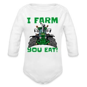 I farm you eat jd - Baby bio-rompertje met lange mouwen