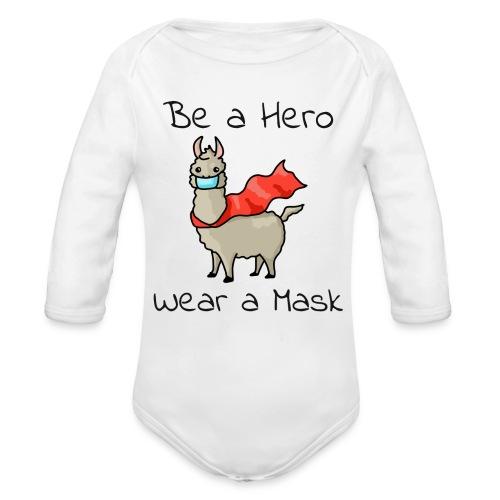 Sei ein Held, trag eine Maske - fight COVID-19 - Baby Bio-Langarm-Body