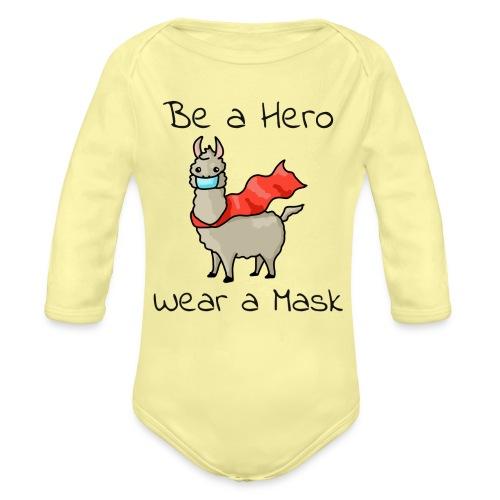 Sei ein Held, trag eine Maske! - Baby Bio-Langarm-Body