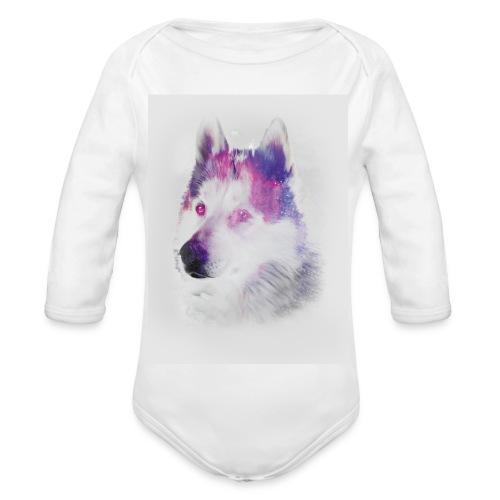 Pies husky - Ekologiczne body niemowlęce z długim rękawem