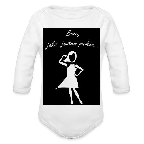 Koszulka Boże, jaka jestem piękna - Ekologiczne body niemowlęce z długim rękawem