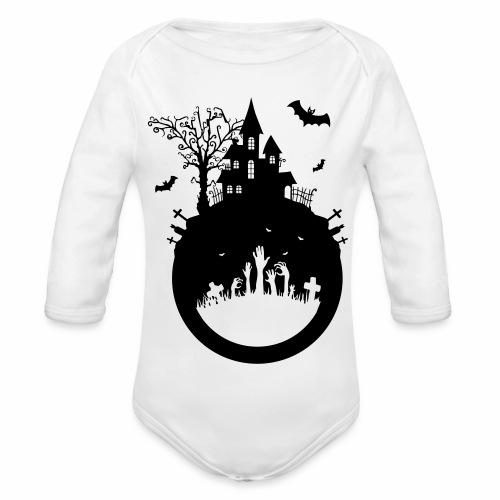 Halloween Design - Das Spukhaus - Baby Bio-Langarm-Body