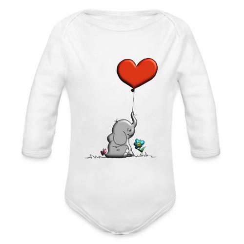 Éléphant, coeur rouge, der Elefant - Body Bébé bio manches longues