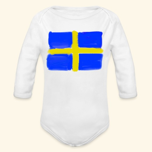 Swedish flag in Watercolours - Ekologisk långärmad babybody