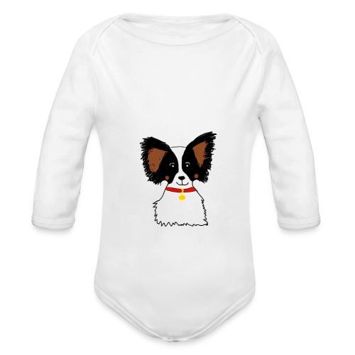 Papillon dog - Organic Longsleeve Baby Bodysuit