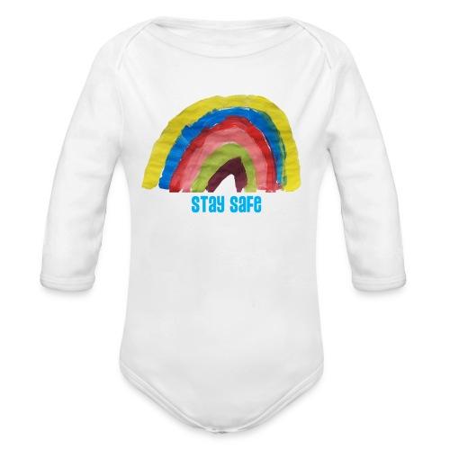 Stay Safe Rainbow Tshirt - Organic Longsleeve Baby Bodysuit