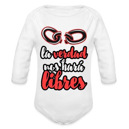 La verdad nos hará libres camiseta cristiana - Body orgánico de manga larga para bebé