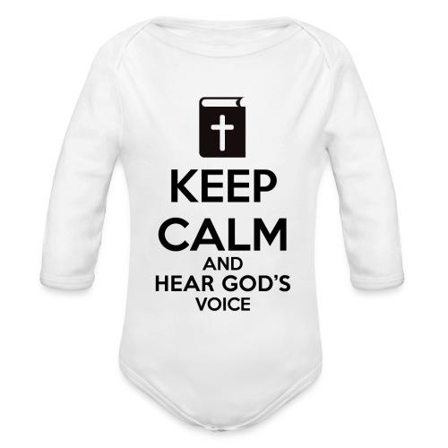 Keep Calm and Hear God Voice Meme - Body orgánico de manga larga para bebé