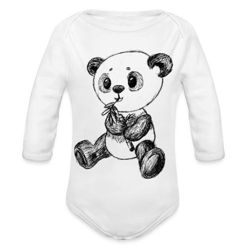 Panda Karhu musta scribblesirii - Vauvan pitkähihainen luomu-body