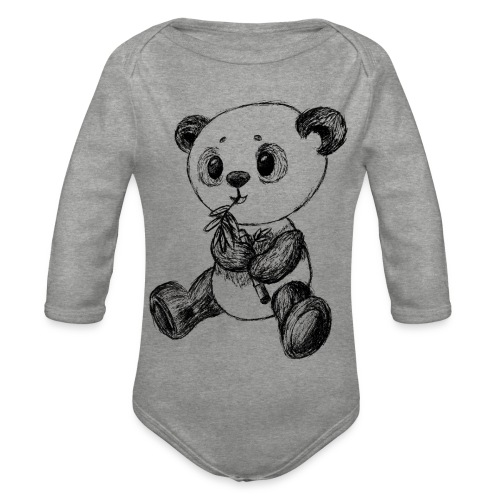 Panda bjørn sort scribblesirii - Langærmet babybody, økologisk bomuld