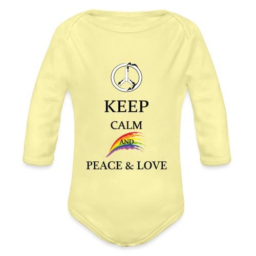 keep calm and Peace & Lov - Body ecologico per neonato a manica lunga