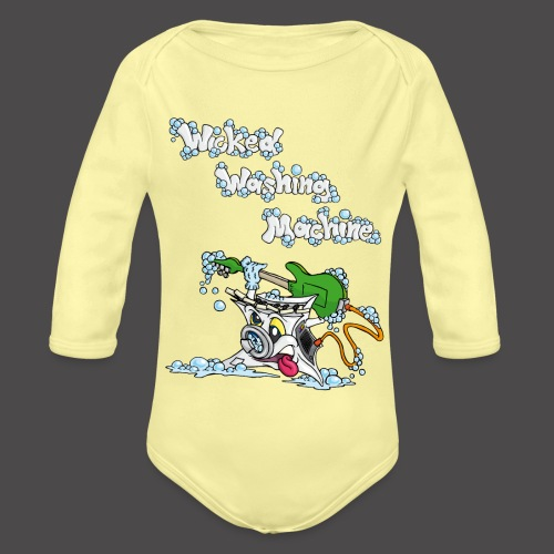 Wicked Washing Machine Cartoon and Logo - Baby bio-rompertje met lange mouwen