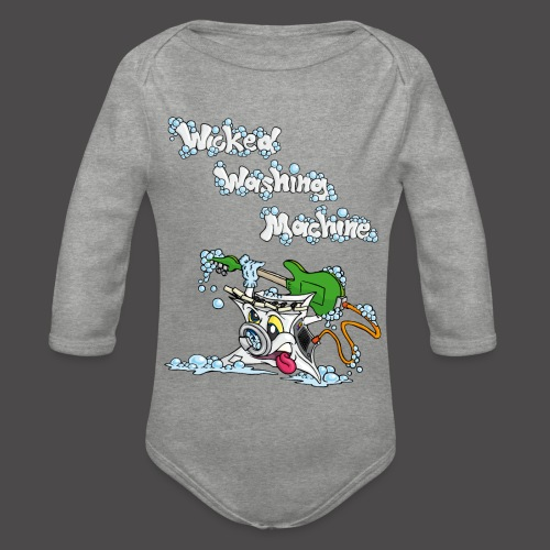 Wicked Washing Machine Cartoon and Logo - Baby bio-rompertje met lange mouwen