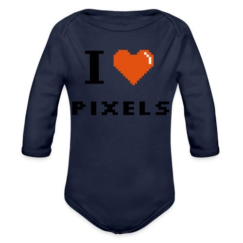 Iheart PIXELS - Organic Longsleeve Baby Bodysuit
