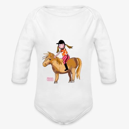 petite fille et poney - Body Bébé bio manches longues