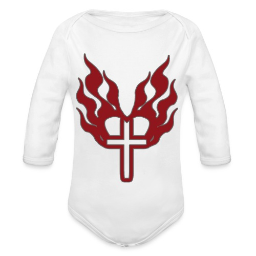 Cross and flaming hearts 02 - Organic Longsleeve Baby Bodysuit