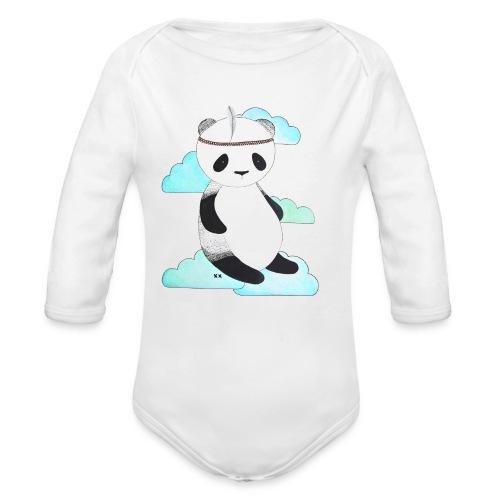 pandabeer - Baby bio-rompertje met lange mouwen