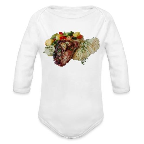 Steak mit Gemüse und Beilage - Baby Bio-Langarm-Body
