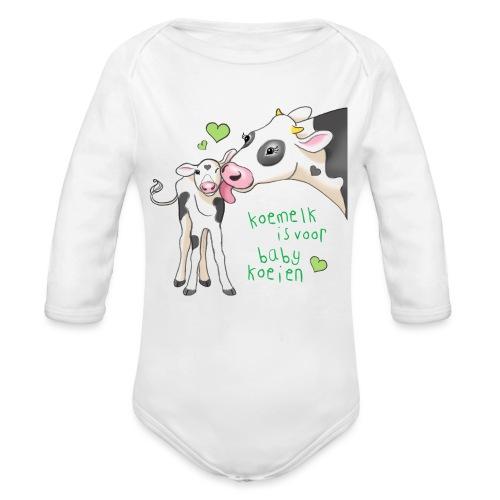 koemelk is voor baby koeien - Organic Longsleeve Baby Bodysuit