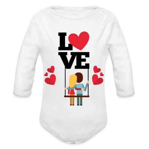 Love couple t-shirt - Body Bébé bio manches longues