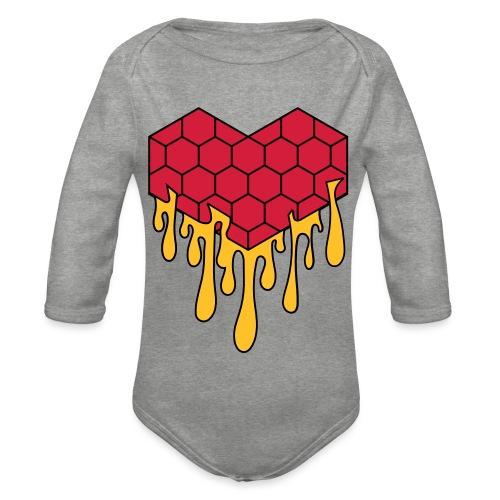 Honey heart cuore miele radeo - Body ecologico per neonato a manica lunga