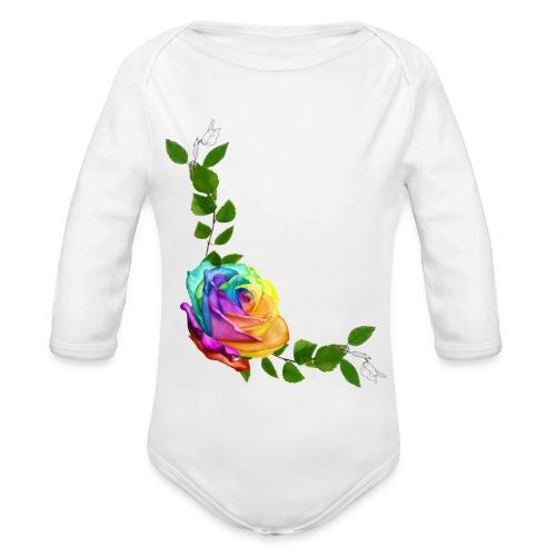 Rose arc-en-ciel par A.E Ferrets - Body bébé bio manches longues